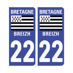 Sticker plaque Côtes d'Armor 22 - Pack de 2