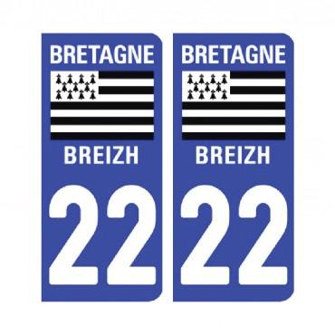 Sticker plaque Côtes d'Armor 22 - Pack de 2 - bretagne & stickers muraux - fanastick.com