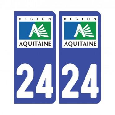 Sticker plaque Dordogne 24 - Pack de 2 - tous les départements & stickers muraux - fanastick.com