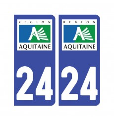 Sticker plaque Dordogne 24 - Pack de 2