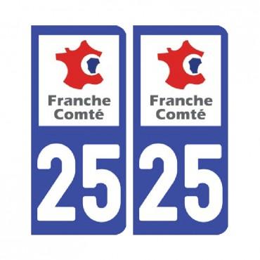 Sticker plaque Doubs 25 - Pack de 2 - bourgogne-franche-comté & stickers muraux - fanastick.com