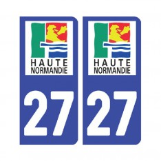 Sticker plaque Eure 27 - Pack de 2