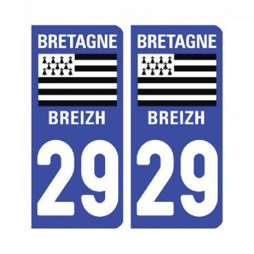 Sticker plaque Finistère 29 - Pack de 2 - tous les départements & stickers muraux - fanastick.com