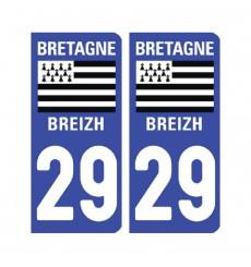 Sticker plaque Finistère 29 - Pack de 2