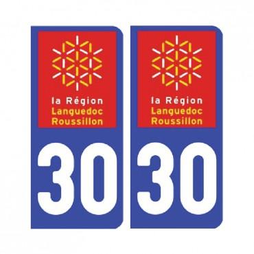 Sticker plaque Gard 30 - Pack de 2 - languedoc-roussillon-midi-pyrénées & stickers muraux - fanastick.com