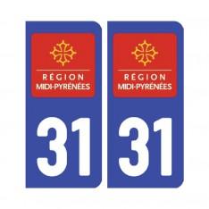 Sticker plaque Haute-Garonne 31 - Pack de 2