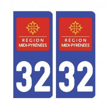 Sticker plaque Gers 32 - Pack de 2 - languedoc-roussillon-midi-pyrénées & stickers muraux - fanastick.com