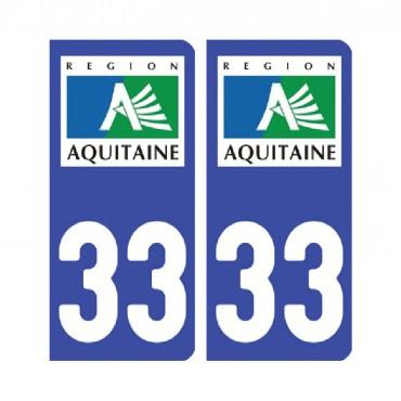 Sticker plaque Gironde 33 - Pack de 2 - aquitaine-limousin-poitou-charentes & stickers muraux - fanastick.com
