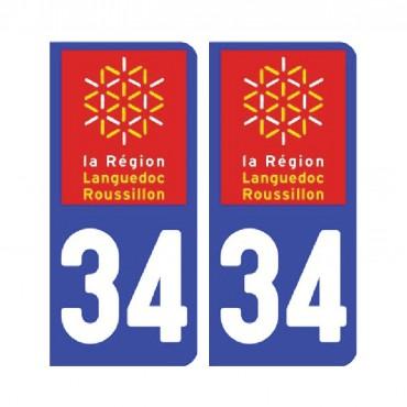 Sticker plaque Hérault 34 - Pack de 2 - languedoc-roussillon-midi-pyrénées & stickers muraux - fanastick.com