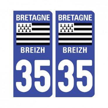 Sticker plaque Ille-et-Vilaine 35 - Pack de 2 - bretagne & stickers muraux - fanastick.com