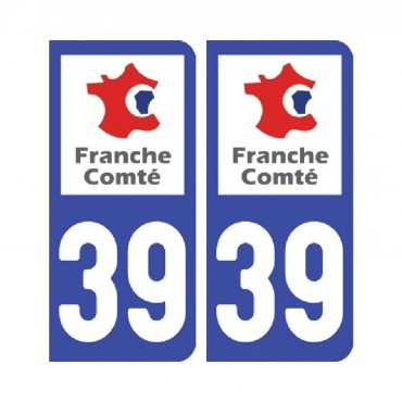 Sticker plaque Jura 39 - Pack de 2 - bourgogne-franche-comté & stickers muraux - fanastick.com