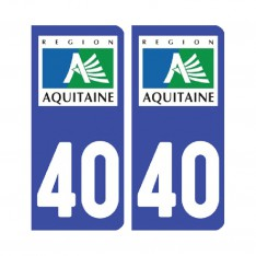 Sticker plaque Landes 40 - Pack de 2