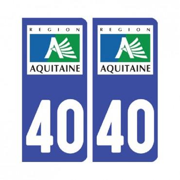 Sticker plaque Landes 40 - Pack de 2 - aquitaine-limousin-poitou-charentes & stickers muraux - fanastick.com