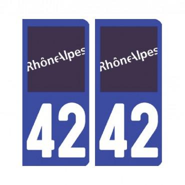 Sticker plaque Loire 42 - Pack de 2 - auvergne-rhônes-alpes & stickers muraux - fanastick.com
