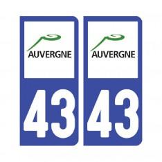 Sticker plaque Haute-Loire 43 - Pack de 2