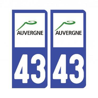 Sticker plaque Haute-Loire 43 - Pack de 2 - auvergne-rhônes-alpes & stickers muraux - fanastick.com