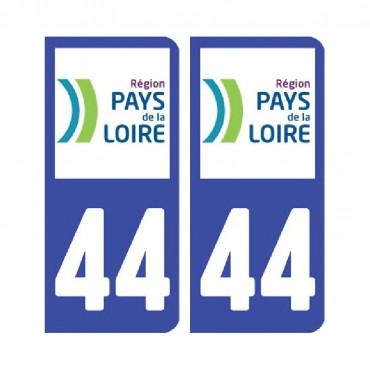 Sticker plaque Loire-Atlantique 44 - Pack de 2 - pays de la loire & stickers muraux - fanastick.com