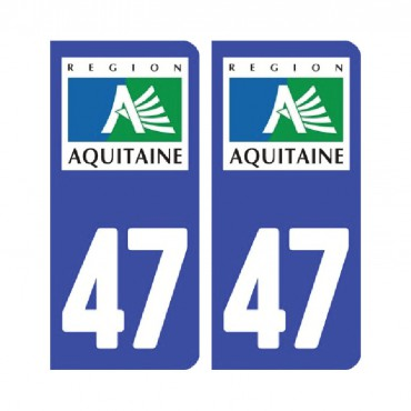 Sticker plaque Lot-et-Garonne 47 - Pack de 2 - tous les départements & stickers muraux - fanastick.com