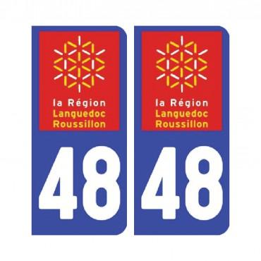 Sticker plaque Lozère 48 - Pack de 2 - languedoc-roussillon-midi-pyrénées & stickers muraux - fanastick.com