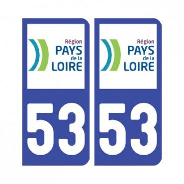 Sticker plaque Mayenne 53 - Pack de 2 - pays de la loire & stickers muraux - fanastick.com