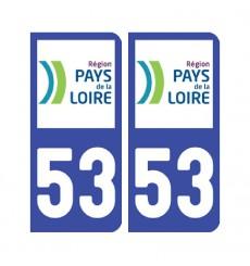 Sticker plaque Mayenne 53 - Pack de 2