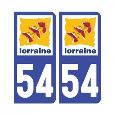 Sticker plaque Meurthe-et-Moselle 54 - Pack de 2 - alsace-champagne-ardenne-lorraine & stickers muraux - fanastick.com