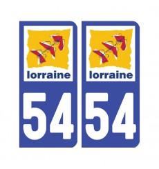 Sticker plaque Meurthe-et-Moselle 54 - Pack de 2