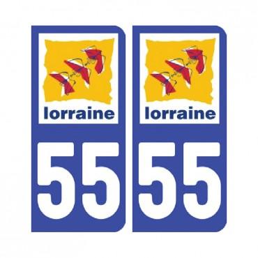 Sticker plaque Meuse 55 - Pack de 2 - alsace-champagne-ardenne-lorraine & stickers muraux - fanastick.com