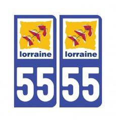 Sticker plaque Meuse 55 - Pack de 2