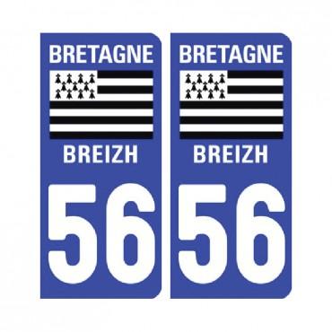 Sticker plaque Morbihan 56 - Pack de 2 - bretagne & stickers muraux - fanastick.com