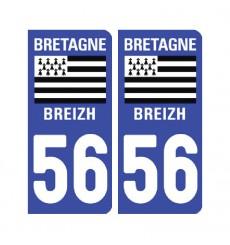 Sticker plaque Morbihan 56 - Pack de 2