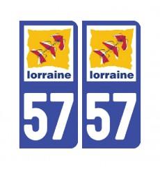 Sticker plaque Moselle 57 - Pack de 2