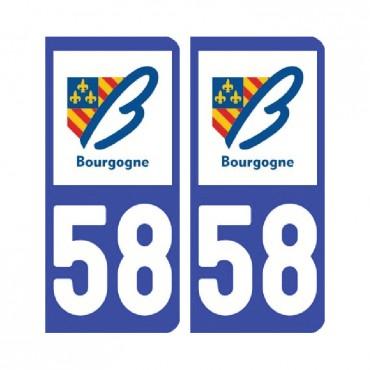 Sticker plaque Nièvre 58 - Pack de 2 - bourgogne-franche-comté & stickers muraux - fanastick.com