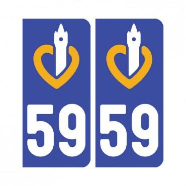 Sticker plaque Nord 59 - Pack de 2 - nord-pas-de-calais-picardie & stickers muraux - fanastick.com