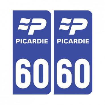 Sticker plaque Oise 60 - Pack de 2 - nord-pas-de-calais-picardie & stickers muraux - fanastick.com