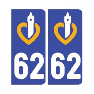 Sticker plaque Pas-de-Calais 62 - Pack de 2 - nord-pas-de-calais-picardie & stickers muraux - fanastick.com