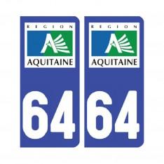Sticker plaque Pyrénées-Atlantiques 64 - Pack de 2