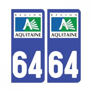 Sticker plaque Pyrénées-Atlantiques 64 - Pack de 2 - aquitaine-limousin-poitou-charentes & stickers muraux - fanastick.com