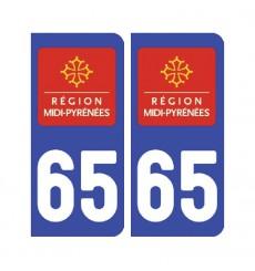 Sticker plaque Hautes-Pyrénées 65 - Pack de 2