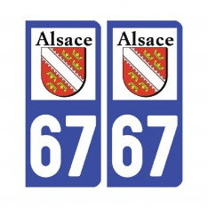 Sticker plaque Bas-Rhin 67 - Pack de 2