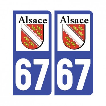 Sticker plaque Bas-Rhin 67 - Pack de 2 - alsace-champagne-ardenne-lorraine & stickers muraux - fanastick.com