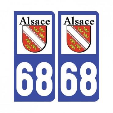 Sticker plaque Haut-Rhin 68 - Pack de 2 - alsace-champagne-ardenne-lorraine & stickers muraux - fanastick.com