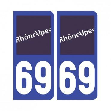 Sticker plaque Rhône 69 - Pack de 2 - auvergne-rhônes-alpes & stickers muraux - fanastick.com