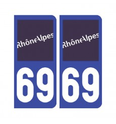 Sticker plaque Rhône 69 - Pack de 2