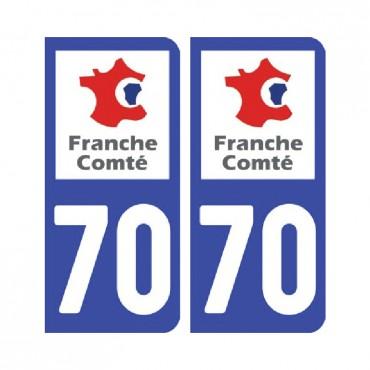 Sticker plaque Haute-Saône 70 - Pack de 2 - bourgogne-franche-comté & stickers muraux - fanastick.com