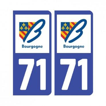 Sticker plaque Saône-et-Loire 71 - Pack de 2 - bourgogne-franche-comté & stickers muraux - fanastick.com