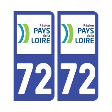 Sticker plaque Sarthe 72 - Pack de 2 - pays de la loire & stickers muraux - fanastick.com