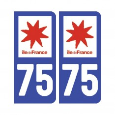 Sticker plaque Paris 75 - Pack de 2