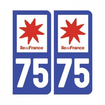 Sticker plaque Paris 75 - Pack de 2 - Île-de-france & stickers muraux - fanastick.com