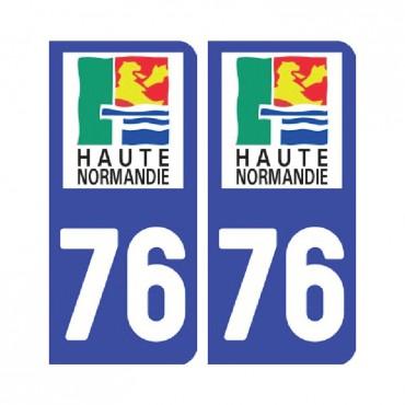 Sticker plaque Seine-Maritime 76 - Pack de 2 - normandie & stickers muraux - fanastick.com